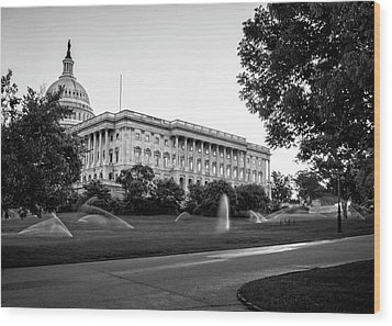 Capitol Hill Sprinklers In Black And White Wood Print by Greg Mimbs