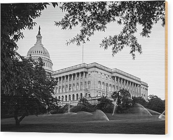 Capitol Lawn In Black And White Wood Print by Greg Mimbs