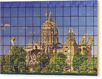 Wood Print featuring the photograph Capitol Reflection - Iowa by Nikolyn McDonald