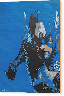 Captain America - Out Of The Blue  Wood Print by Kelly Hartman