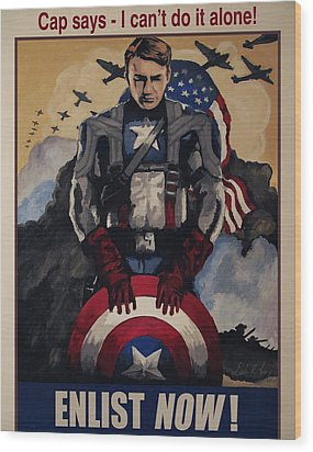 Captain America Recruiting Poster Wood Print
