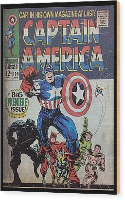 Captain America  Wood Print by Rob Hans