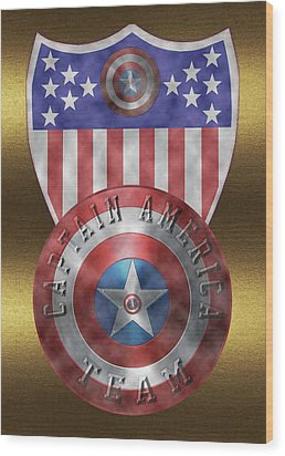 Wood Print featuring the painting Captain America Shields On Gold  by Georgeta Blanaru
