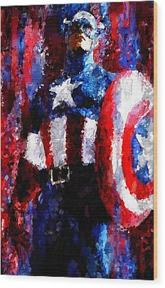 Captain America Signed Prints Available At Laartwork.com Coupon Code Kodak Wood Print by Leon Jimenez