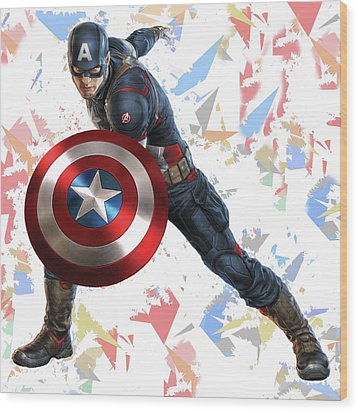 Wood Print featuring the mixed media Captain America Splash Super Hero Series by Movie Poster Prints