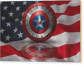 Wood Print featuring the painting Captain America Team Typography On Captain America Shield  by Georgeta Blanaru