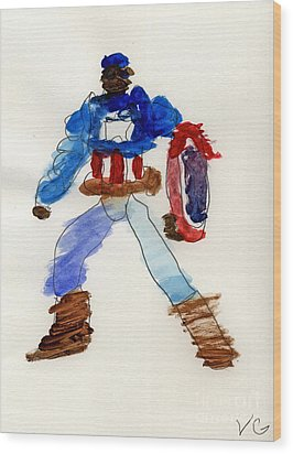 Captain America Wood Print by Vincent Gitto