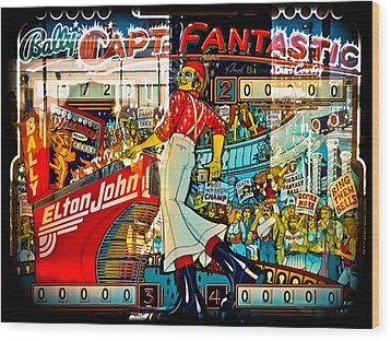 Captain Fantastic - Pinball Wood Print by Colleen Kammerer