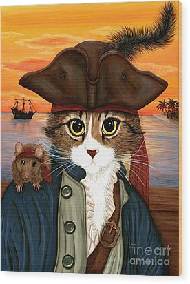 Wood Print featuring the painting Captain Leo - Pirate Cat And Rat by Carrie Hawks