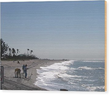 Wood Print featuring the photograph Captiva Surf Fishing by Jack G  Brauer
