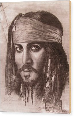 Wood Print featuring the drawing Capt.jack by Jack Skinner