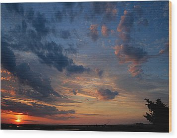 Captree Sunset Wood Print by Christopher Kirby