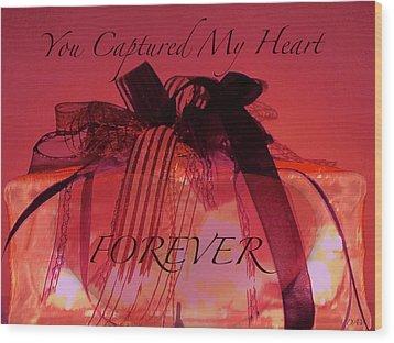 Captured My Heart Card Wood Print