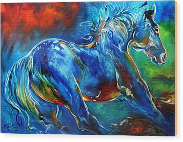 Captured Wild Stallion Wood Print by Marcia Baldwin