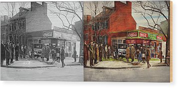 Wood Print featuring the photograph Car - Accident - Looking Out For Number One 1921 - Side By Side by Mike Savad