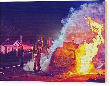 Car Arson  Wood Print