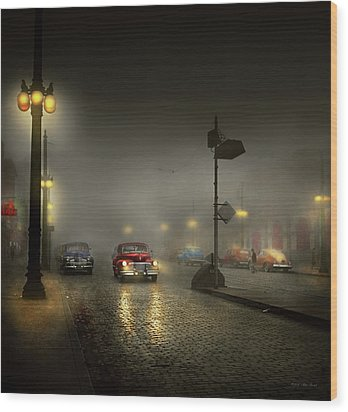 Wood Print featuring the photograph Car - Down A Lonely Road 1940 by Mike Savad