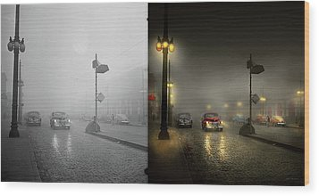 Wood Print featuring the photograph Car - Down A Lonely Road 1940 - Side By Side by Mike Savad