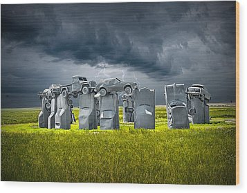 Car Henge In Alliance Nebraska After England's Stonehenge Wood Print by Randall Nyhof