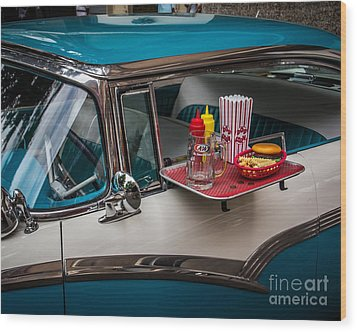 Car Hop Wood Print by Perry Webster