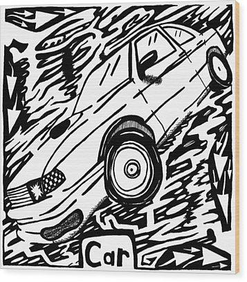 Car Maze  Wood Print by Yonatan Frimer Maze Artist