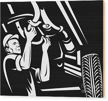 Car Mechanic Working Wood Print by Aloysius Patrimonio