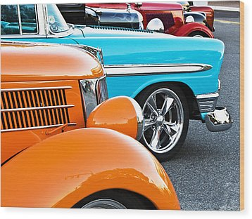 Car Show Beauties Wood Print by Marion McCristall