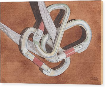 Carabiners Wood Print by Ken Powers