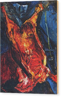 Carcass Of Beef Wood Print by Pg Reproductions