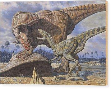 Carcharodontosaurus Guards Its Kill Wood Print by Mark Hallett