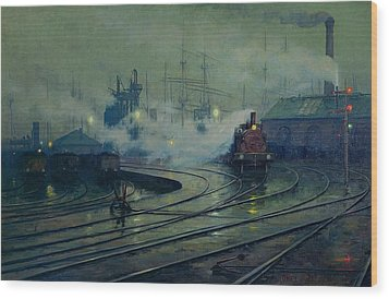 Cardiff Docks Wood Print by Lionel Walden