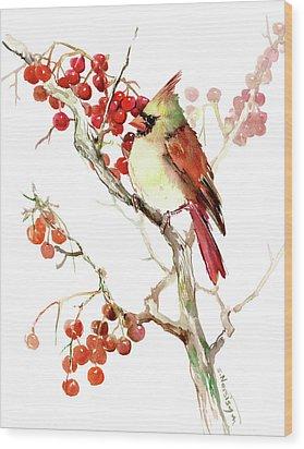 Cardinal Bird And Berries Wood Print by Suren Nersisyan
