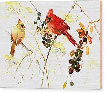 Cardinal Birds And Berries Wood Print