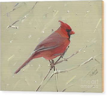 Cardinal Wood Print by Carrie Joy Byrnes
