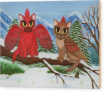 Cardinal Cats Wood Print by Carrie Hawks