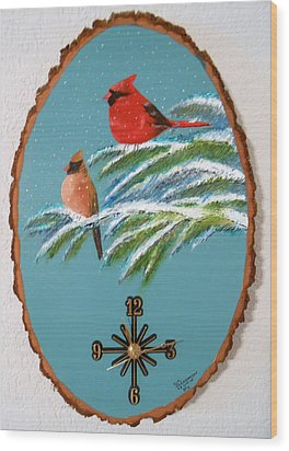 Wood Print featuring the painting Cardinal Clock by Al  Johannessen