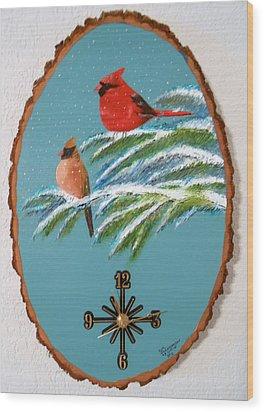 Cardinal Clock Wood Print by Al  Johannessen