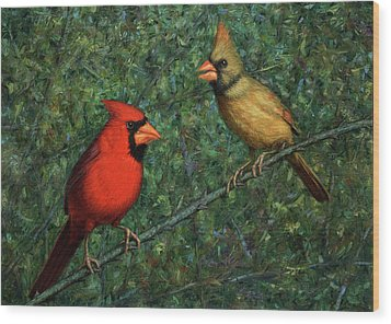 Cardinal Couple Wood Print by James W Johnson