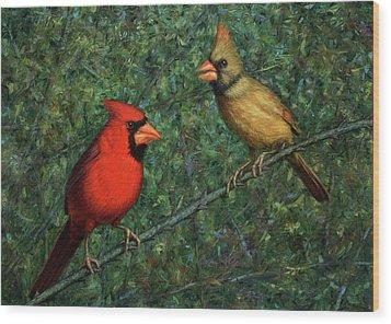 Cardinal Couple Wood Print by James W Johnson