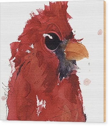 Wood Print featuring the painting Cardinal by Dawn Derman