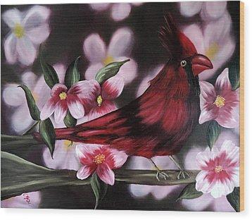 Cardinal Wood Print by Dianna Lewis