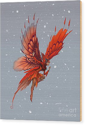 Wood Print featuring the digital art Cardinal Fairy by Stanley Morrison