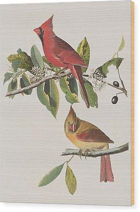 Cardinal Grosbeak Wood Print by John James Audubon