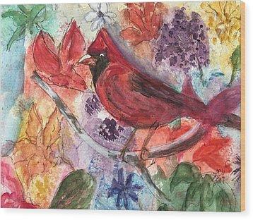 Cardinal In Flowers Wood Print