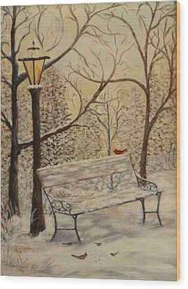 Cardinal In The Snow Wood Print by Douglas Ann Slusher