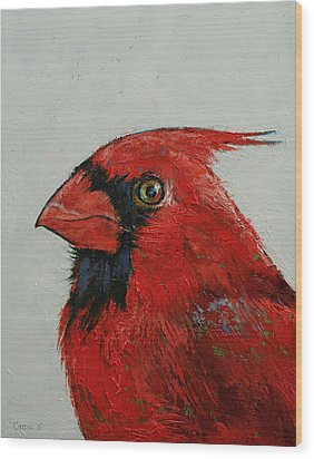 Cardinal Wood Print by Michael Creese