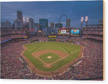 Cardinal Nation Busch Stadium St. Louis Cardinals Twilight 2015 Wood Print by David Haskett