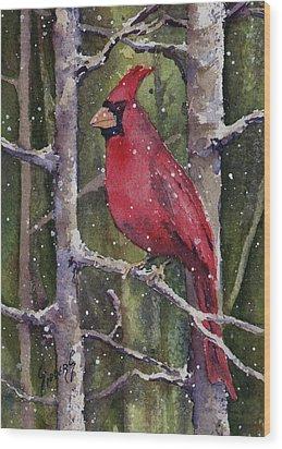 Cardinal Wood Print by Sam Sidders