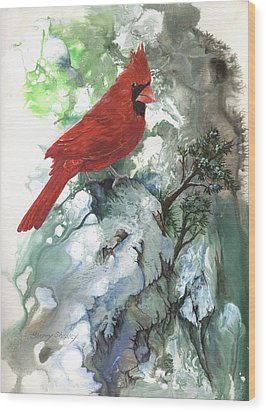 Wood Print featuring the painting Cardinal by Sherry Shipley