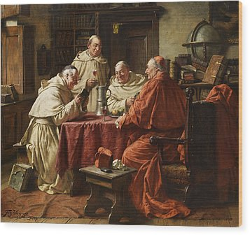 Cardinal With Monks Wood Print by Fritz Wagner